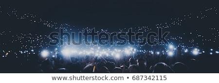 Siluet eller kalabalık konser kırmızı Stok fotoğraf © jeliva
