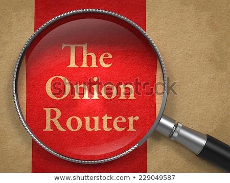 Cebula router lupą starego papieru papieru Internetu Zdjęcia stock © tashatuvango