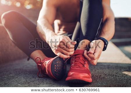 спортивных обуви женщину спорт деревянный пол Сток-фото © pmphoto