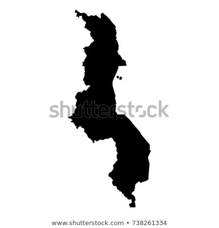 Sziluett térkép Malawi felirat fehér felirat Stock fotó © mayboro