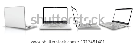 laptop with blank white screen stock photo © ozaiachin