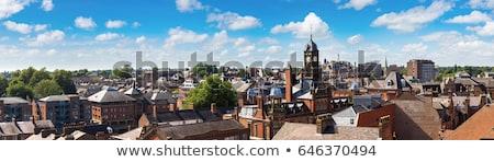 Straße Uhr blauer Himmel Stadt Arbeit blau Stock foto © gavran333