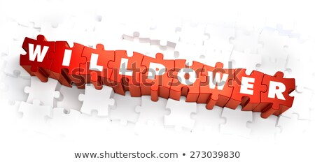 Força de vontade branco palavra vermelho ilustração 3d quebra-cabeça Foto stock © tashatuvango