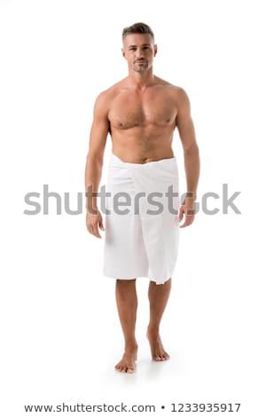 Póló nélkül izmos férfi fehér törölköző portré Stock fotó © wavebreak_media
