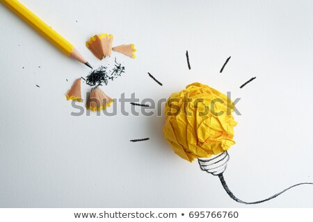 crumpled paper and yellow pencil Stock photo © caimacanul