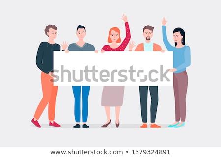 Lege banner mensen zes mensen vrouw man Stockfoto © fuzzbones0