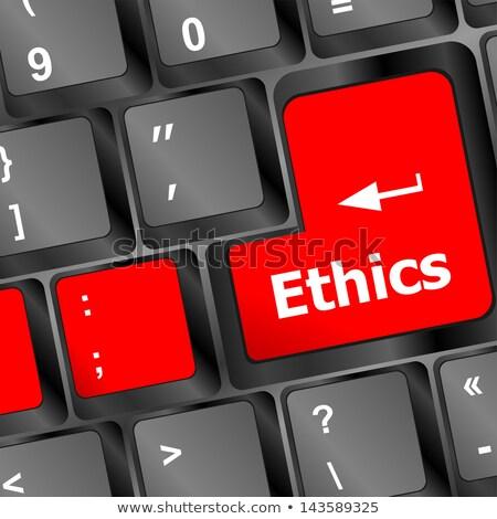 Sajtó gomb üzlet etika fekete billentyűzet Stock fotó © tashatuvango