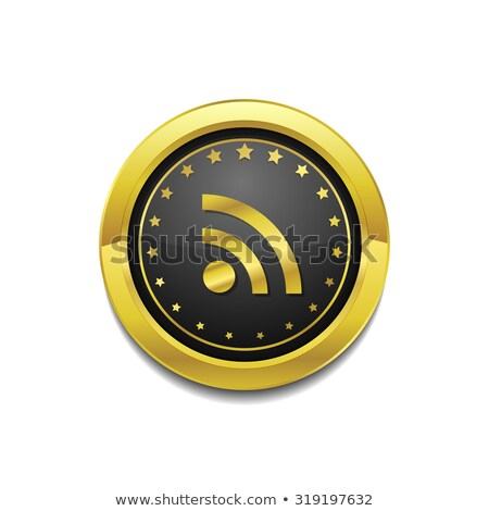 RSS Circular Vector Gold Web Icon Button Stock photo © rizwanali3d