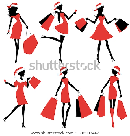 winter shopping beautiful black hair woman in red costume on shopping stock photo © lordalea