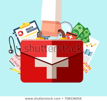 doctor hands holding white card with first aid icon stock photo © ichiosea