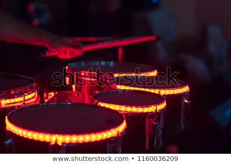 Microphone. drummer and guitar player in out of focus Stock photo © Paha_L