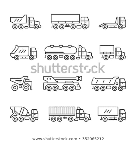 Foto stock: Concrete Mixer Truck Line Icon