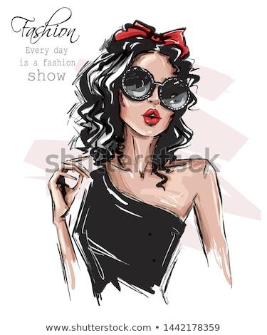 ストックフォト: エレガントな · 女性 · ファッショナブル · ドレス · ポーズ · コルセット