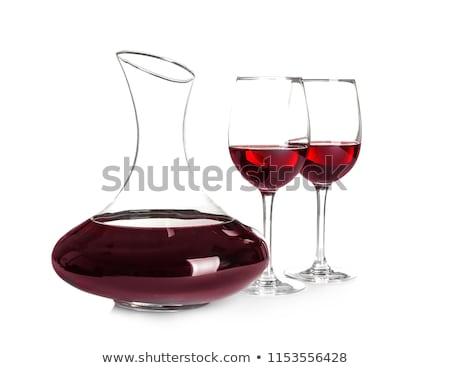 Decanter with wine-glasses isolated on white. Stock photo © vapi