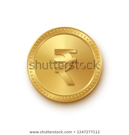Indiai valuta felirat arany érme vektor ikon Stock fotó © rizwanali3d
