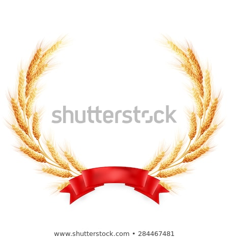 ripe yellow wheat ears with red ribbon eps 10 stock photo © beholdereye