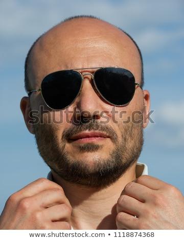 érett férfi visel kék nyitva póló barna Stock fotó © feedough