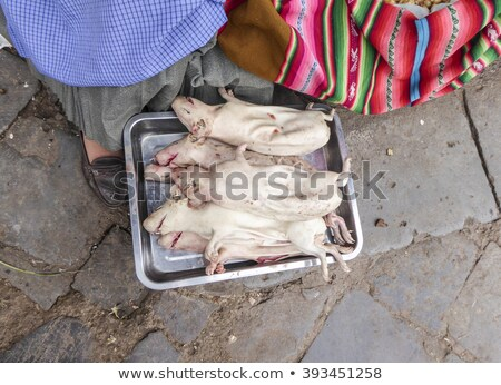 local people sells fresh slaughered guines pigs  at the  market  Stock photo © meinzahn