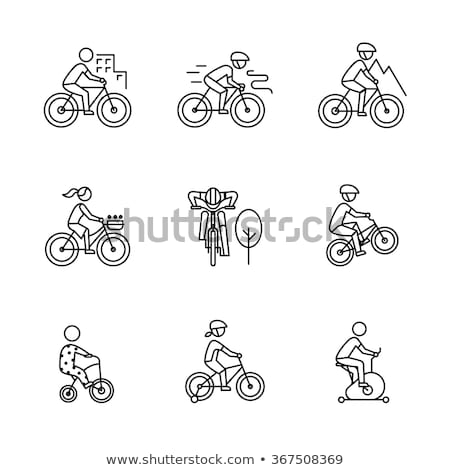 homem · equitação · bicicleta · linha · ícone · teia - foto stock © rastudio