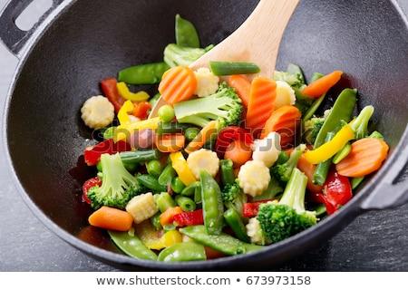 Keverés zöldségek kolbász vacsora paradicsom bors Stock fotó © Digifoodstock