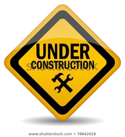 építkezés illusztráció fal háttér fém felirat Stock fotó © bluering