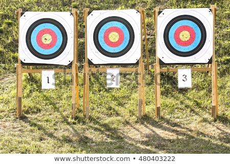 Three of paper archery targets in wooden stands  Stock photo © smuki