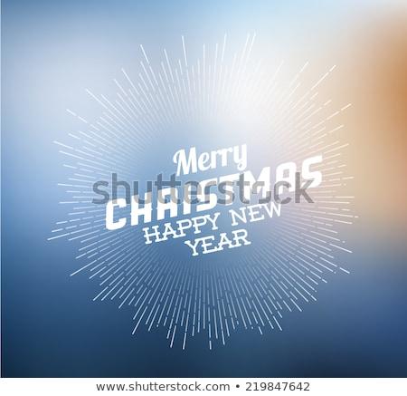 Stock fotó: Vektor · klasszikus · retro · karácsony · címke · kék