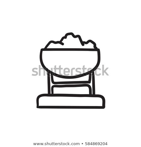 Mine trolley full of coal sketch icon. Stock photo © RAStudio
