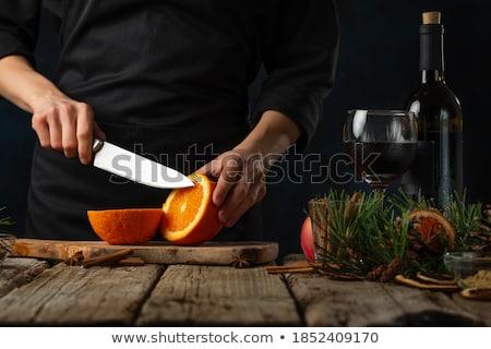 Сток-фото: Tea With Orange Close Up