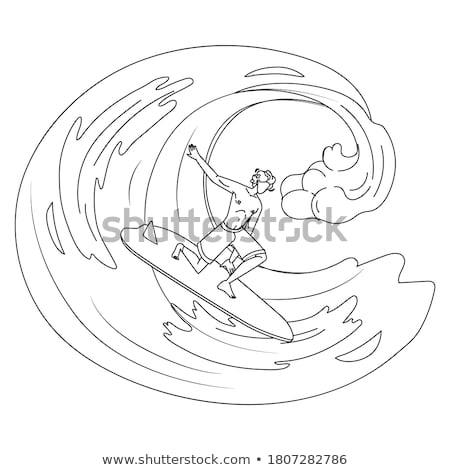 A drawing of a boy enjoying the water ride Stock photo © bluering