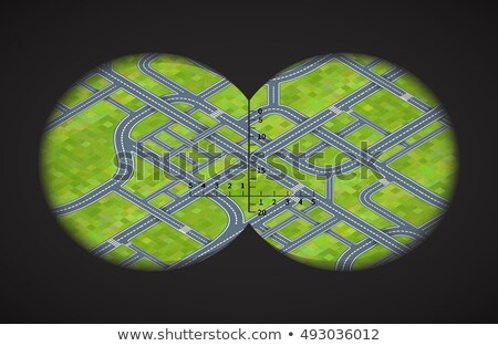 View from the binoculars on difficult road junctions in isometric stock photo © Evgeny89