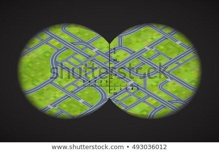 Photo stock: Vue · jumelles · difficile · route · isométrique · ville