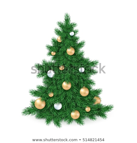 Evergreen arbre or balle Noël cadre Photo stock © neirfy
