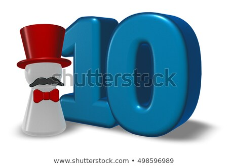 number ten and pawn with hat and beard - 3d rendering Stock photo © drizzd