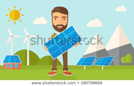 man holding solar panel vector illustration stock photo © rastudio