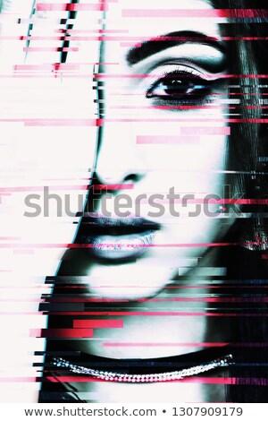 Blue female eye with digital glitch effect Stock photo © stevanovicigor