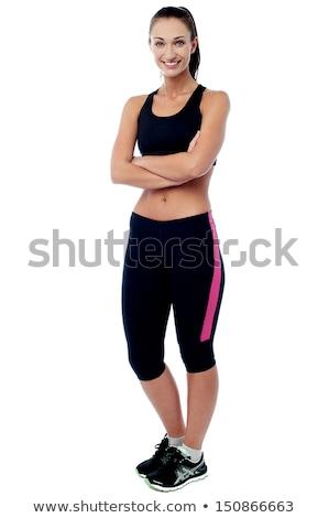 Foto d'archivio: Giovani · pretty · woman · sport · indossare · isolato · bianco