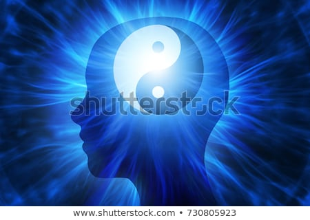 Icon of head with yin yang meditation symbol Stock photo © adrian_n