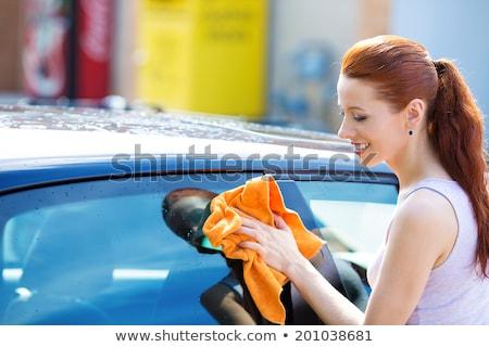 Сток-фото: женщину · высушите · автомобилей · ткань · стиральные