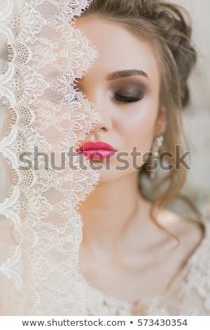 Szépség fiatal nő fehér csipke közelkép menyasszony Stock fotó © iordani