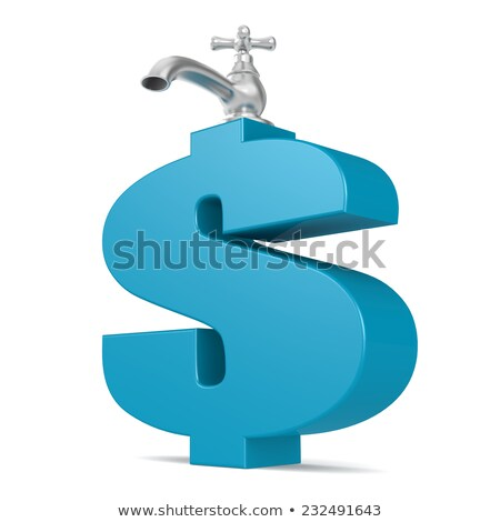 ストックフォト: 青 · ドル記号 · 水 · 3D · レンダリング