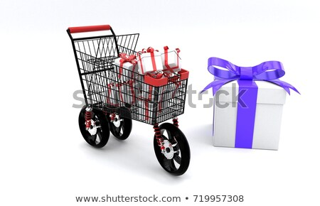 car wheels with white gift box and poster white background 3d stock photo © user_11870380