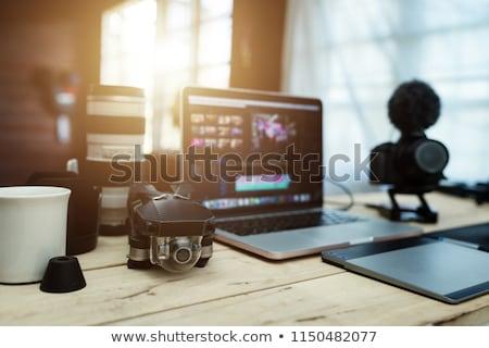 Edit Content on Laptop in Modern Workplace Background. Stock photo © tashatuvango
