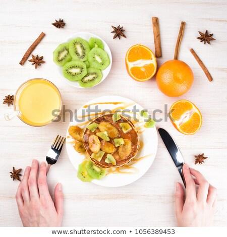 Plakje kiwi vork druiven appel gelukkig Stockfoto © Digifoodstock