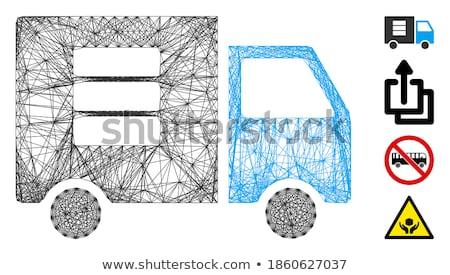 Danych transfer van ikona szary piktogram Zdjęcia stock © ahasoft