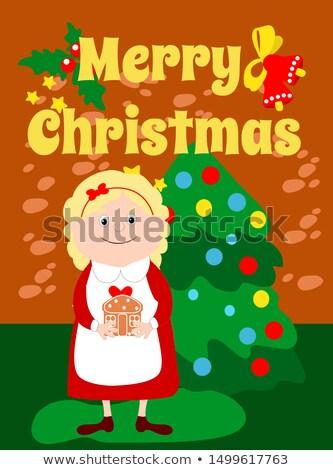 Stock fotó: Kéz · tart · szép · kártya · díszített · karácsonyfa
