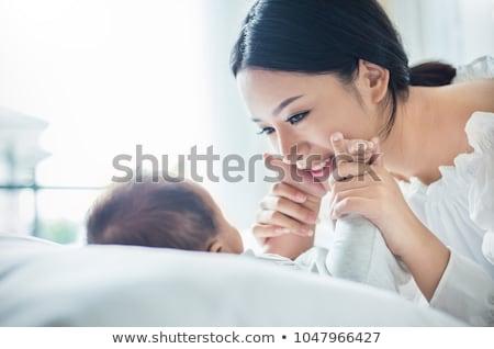 új született baba láb közelkép fotó Stock fotó © szefei