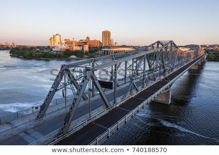 Quebec · cidade · ponte · Canadá · pôr · do · sol · tempo - foto stock © benkrut