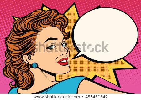vector · pop · art · vrouw · gezicht · Open · mond - stockfoto © studiostoks