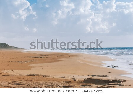 Stock photo: Sunset clouds and waves on empty beach